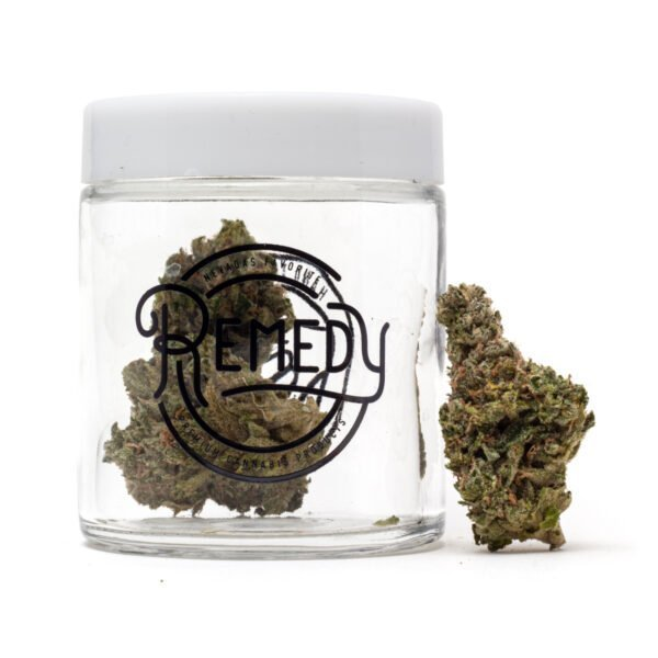 707 headband flower in Remedy glass jar
