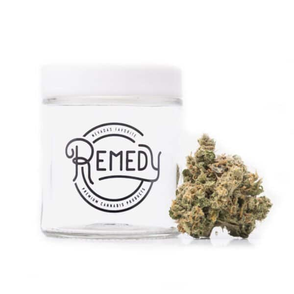 blue dream bud next to Remedy glass jar